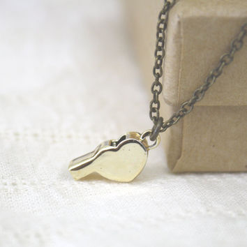 Whistle Necklace Gold Plated Heart Shaped