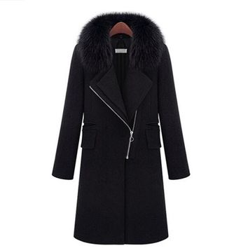 2017 New Slim Long Winter Coat Women Elegant Thick Warm Casaco Feminino Europe Wool Coat Women Clothing Overcoat Plus Size 5XL