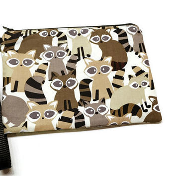 Adorable raccoons zippered iphone credit cards wristlet wallet purse. Raccoons gift idea. Under 25 gift.