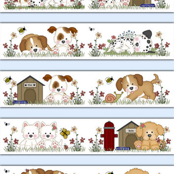 PUPPY DOG WALLPAPER Border Decals Baby Boy Girl Nursery Kids Room Childrens Bedroom Bee Wall Art Stickers Decor