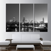 LARGE wall ART Canvas Print - chicago Skyline wall Art canvas, Extra Large Skyline chicago Wall Art Print, city skyline fine art print  t274