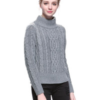 Gray Roll Neck Cable Knit Sweater