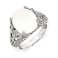 Cheryl M Sterling Silver CZ And Synthetic Opal Ring