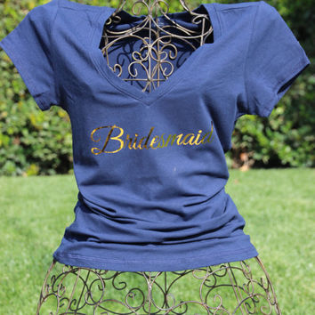 Bridesmaid VNeck,Bridesmaid Vneck Tshirt, VNeck, Wedding, Bride, Bridal Shower, Bridal Party, Wedding Party, Bridal Clothing