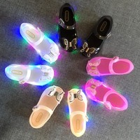 hot 2017 new Mini Melissa LED Princess Shoes LED Lights Girls Shoes children Bow Princess Shoes kids Jelly Shoes Bow Sandals
