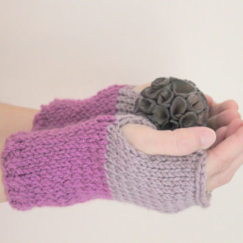 Knit Fingerless Gloves, Purple Gloves, Ombre Gloves, Women's Accessories, Knit Gloves, Texting Gloves