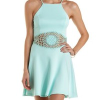 Aqua Racer Front Crochet Cut-Out Skater Dress by Charlotte Russe
