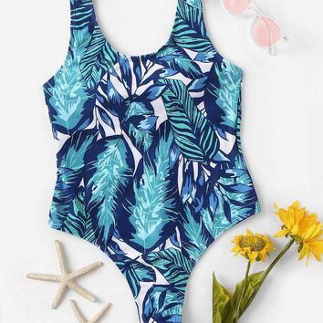 Random Low Back Tropical One Piece Swimsuit