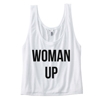 Woman Up Shirt - Womens Flowy Boxy Tank Top - dance shirt, workout shirt, fitness shirt, yoga shirt