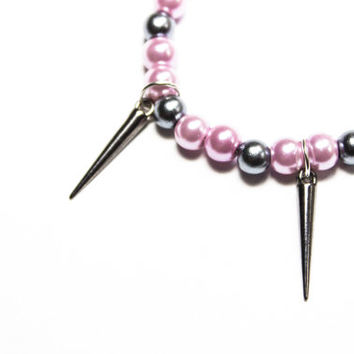 Pink and Silver spiked bracelet