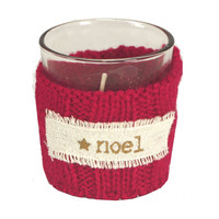 Sweater Cable Knit Holiday Votive Candle Holder (Noel)