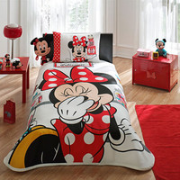 Original Licensed Disney white and red Minnie Mouse Patisserie single quilt set