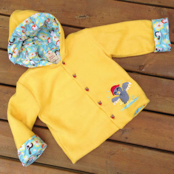 Children's Jacket Hoodie, Handmade, Flannel Lined, Yellow Fleece bird jacket with Hood,  Children's Hoodie Size 5