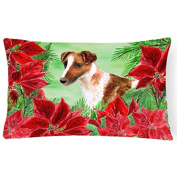 Smooth Fox Terrier Poinsettas Canvas Fabric Decorative Pillow CK1296PW1216