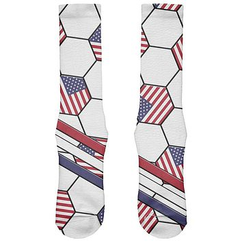 4th of July USA World Cup Soccer Ball All Over Soft Socks