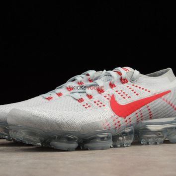 Nike Air VaporMax Flyknit Pure Platinum Red Wolf Grey OG 849558 6 189 Women And Men Sn