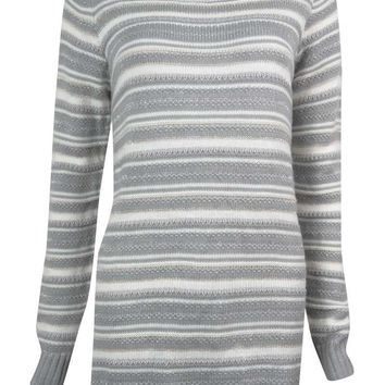 Charter Club Women's Metallic Striped Tunic Sweater
