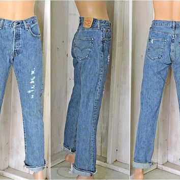 Vintage Levis 501 jeans 29 X 31 / size 5 / 6 / high waisted Levis /  straight leg / distressed