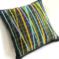 Cross Stitch Pillow OOAK Abstract Stripes Olive Lime Aqua Periwinkle Gold Contemporary Home Decor Home Fashion
