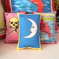 La Luna Moon Mexican Loteria Mini Pillow - Dia De Los Muertos / Day of the Dead