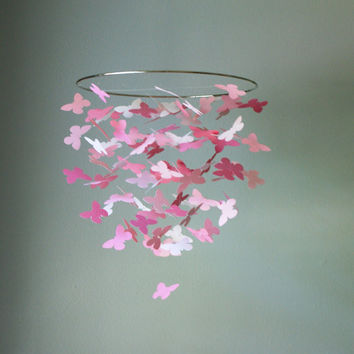Medium Pink Butterfly Swarm Chandelier