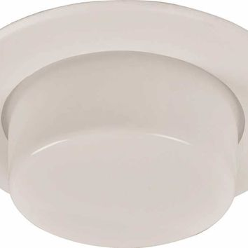 """Monument Recessed Lighting 6"""" White Metal Vapor Trim With Drop Glass Lens For Use In Shower Area"""