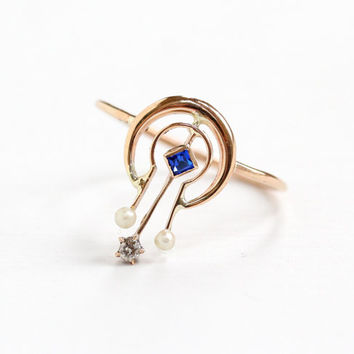 Antique Art Deco 10k Yellow Gold Simulated Sapphire, Seed Pearl, and Diamond Ring- 1910s 1920s Fine Conversion Jewelry, Shooting Star