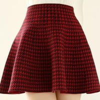 Houndstooth High Waist Elastic Mini Skater Skirt