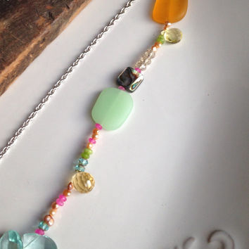 Etsy, Etsy Jewelry, Mixed Bead Necklace, Bead Soup, Sea Glass, Blue Quartz, Pink Quartz, Yellow Jade, Green Amethyst, Abalone Shell