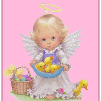 Contemporary Angel with Baby Ducks Easter Basket Counted Cross Stitch or Counted Needlepoint Pattern