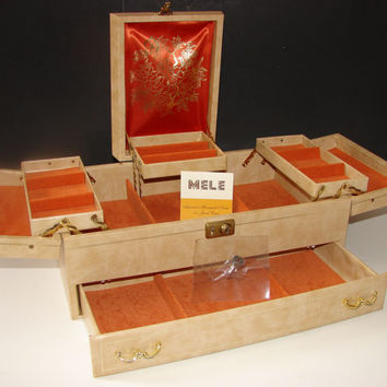 Vintage Mele Jewelry Box with Key & Tag, Cream Ivory Leatherette Orange Satin Interior Large Storage Organizer
