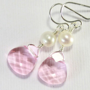 Sterling Silver Earrings, Light Rose Swarovski with Pearls, Bridesmaid Gift, Bridal Jewelry