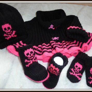 Knitted Baby Goth Set, Jacket, Hat, Mittens and Booties, Baby skull set