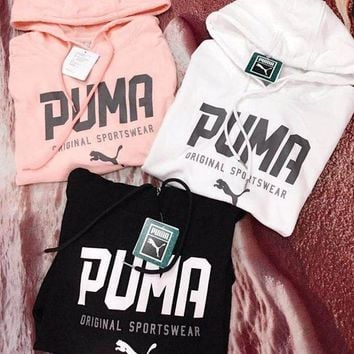 PUMA Women Fashion Hooded Top Pullover Sweater Hoodie Sweatshirt