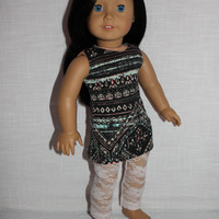 2 piece set! grey tribal print mini tank dress, pale pink/peach floral print lace leggings , 18 inch doll clothes, American girl, Maplelea