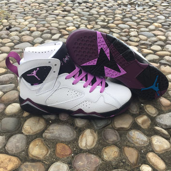 Air Jordan 7 GS Fuchsia Glow White/Purple Women Sneaker