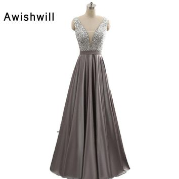 New Arrival Deep V-neck Prom Dress A-Line Satin Long Party Dress Beaded Sequined Sexy Open Back Formal Evening Dresses Women
