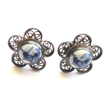 Vintage Delft Blue Screw Back Earrings Painted Porcelain 835 Silver Filigree Handpainted Holland Windmill Screwback Flower