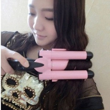 Curling hair curlers magic New styling tools Hair Straightener Hair Curler Tourmaline Ceramic curling wand (Size: L, Color: Pink) = 5710648513