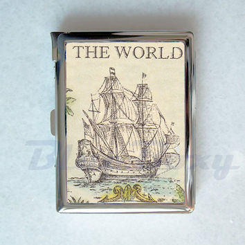 Vintage Sail Cigarette Case with Lighter, Cigarette Box, Card Holder