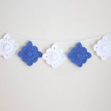 Doily Garland, Crochet Garland, Boho Decor, Blue and White, Cottage Chic, Home Decor, Garland, Gifts for Teens, Gifts for Her