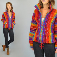 RAINBOW STRIPE vtg 80s boho hippie cropped knitted zip-up sweater JACKET, extra small-large