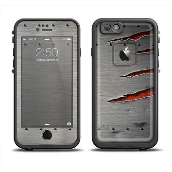 The Ripped Red-Core Metal Apple iPhone 6 LifeProof Fre Case Skin Set
