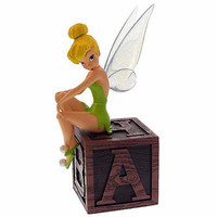 disney parks tinker bell on block light up wings resin figurine new