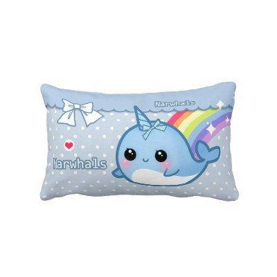 Cute rainbow narwhal on white & blue polka dots from Zazzle.com
