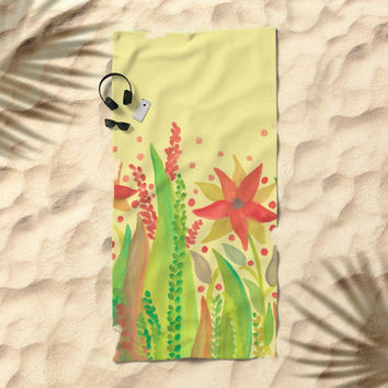 Botanical vibes 11 Beach Towel by ViviGonzalezArt
