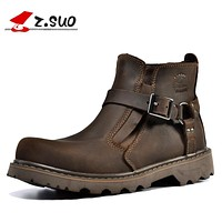 New Fashion Motorcycle Boots Men Genuine Leather Men's Ankle Boots High Quality Breathable Work Cowboy Boots Botas