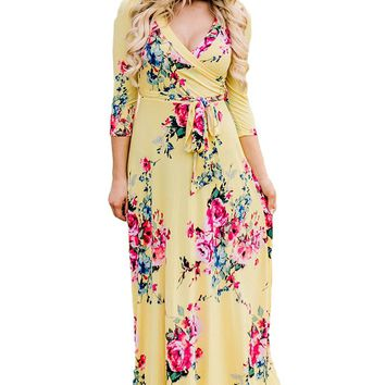 Yellow Blooming Floral Print Wrap V Neck Boho Dress