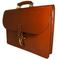 JP Marcellino Co Handmade Chestnut Leather and Solid Brass Latch Briefcase