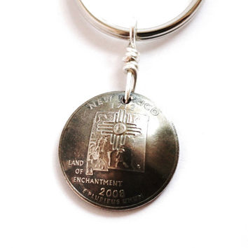 New Mexico Coin Keychain, New Mexico Key Ring, U.S. State Quarter Dollar Coin, Keyring 2008, Key Fob by Hendywood